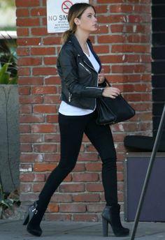 Ashley Benson wearing Saint Laurent Sac du Jour bag Rag & Bone Skinny Jeans in Coal