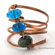 "Easy Ways to Carry a Selection of Jewelry with You (because that's a great strategy for selling your work).  {Pic showing ""Triple Ring"" - copper and glass, by Rena Klingenberg}"
