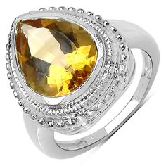 Malaika Sterling Silver 4 3/4ct Citrine Ring | Overstock.com Shopping - The Best Deals on Gemstone Rings