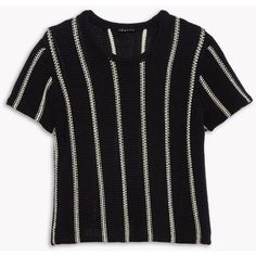 Theory Cotton Stripe Knit Tee found on Polyvore featuring tops, t-shirts, night navy stripe, stripe tee, side slit tee, crew t shirt, navy tee and short sleeve t shirt