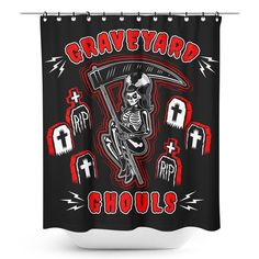Sourpuss Graveyard Ghouls Shower Curtain Cool Curtains Curtains