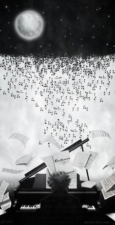 A lovely artistic picture of someone playing Beethoven's music at the piano playing up a storm of music notes. Maybe they are playing Moonlight Sonata?