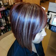 Red violet hair with platinum highlights