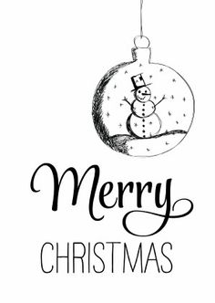 Zwart wit kerstkaart met handlettering en tekening kerstbal met sneeuwpop. Hip, strak en modern.