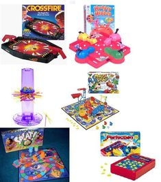 Board Games: Crossfire, Hungry Hungry Hippos, Ker Plunk, Mouse Trap, Splat, & Perfection!