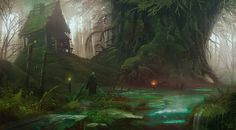 "quarkmaster: "" Neverglades Wes Wheeler "" Featured on Cyrail: Inspiring artworks that make your day better Fantasy Art Landscapes, Fantasy Landscape, Desktop Background Images, Art Background, Backgrounds, Environment Concept Art, Environment Design, Fantasy Village, River Painting"