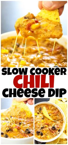 SLOW COOKER CHILI CHEESE DIP - Cheesy and full of flavor, this easy recipe will score a win on the game day and be a hit during the holidays. #dips #queso #slowcooker
