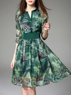 Shop Midi Dresses - Green Floral Polyester Elegant V Neck Midi Dress online. Discover unique designers fashion at StyleWe.com.