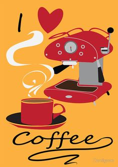 I Love Coffee Retro Style  by Carolynne