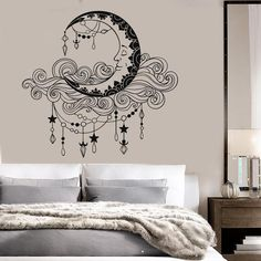 Vinyl Wall Decal Moon Clouds Bedroom Decor Stickers Mural Unique Gift from Saved to Apartment. Vinyl Wall Decals, Wall Stickers, Cloud Bedroom, Decoration Restaurant, Wall Painting Decor, Wall Paintings, Wall Painting For Bedroom, Diy Painting, Bedroom Murals