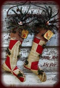 Primitive Christmas Stockings by suzette All Things Christmas, Christmas Holidays, Christmas Wreaths, Christmas Crafts, Christmas Decorations, Holiday Decor, Christmas Ideas, Christmas Patterns, Christmas Inspiration