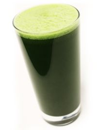 FABULOUS GREEN JUICE  - 4 stalks celery  – 1 head kale or other dark, leafy green  – 2 carrots  – 1 apple, cored  – thumb sized piece of ginger  – 1 lemon, peeled  – 1 tsp Sun is Shining  – 3 inches of aloe vera gel