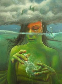 Self-destruction cm oil on canvas 2010 Abstract Writing, Sweet Station, Alcohol Is A Drug, Magical Forest, Jellyfish, Sea Creatures, Deep Blue, Female Art, Oil On Canvas