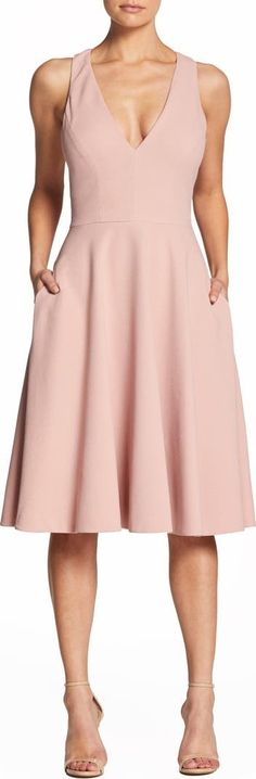 100 Bridesmaid Dresses Perfect for Your Fall Wedding   The Perfect Palette Fit And Flare Cocktail Dress, Fit Flare Dress, Nordstrom Gifts, Dress The Population, Crepe Fabric, Tea Length, Electric Blue, Nordstrom Dresses, Mother Of The Bride