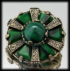 Green Gold Colored Celtic Style Miracle Brooch from Catisfaction's Glass Gallery on Ruby Lane