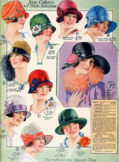 vintagefashionandbeauty:  Hats, 1927. (♥)