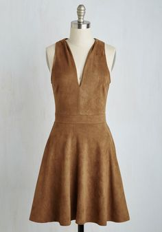 Attraction to Action Dress in Caramel. Everywhere you go in this tawny A-line excitement and adventure are sure to find you! #brown #modcloth