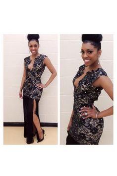 Porsha Stewart wearing Open-Back Tori Dress in Black from Holt