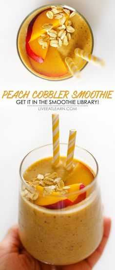 This healthy Peach Cobbler Smoothie recipe is a fast breakfast idea that's vegan, gluten-free, and so full of flavor! With no added sugar, it uses natural sweeteners to taste like dessert in a glass. // Live Eat Learn Best Vegan Desserts, Vegan Dessert Recipes, Vegetarian Recipes Easy, Raw Food Recipes, Snack Recipes, Breakfast Recipes, Top Recipes, Easy Recipes, Yummy Drinks