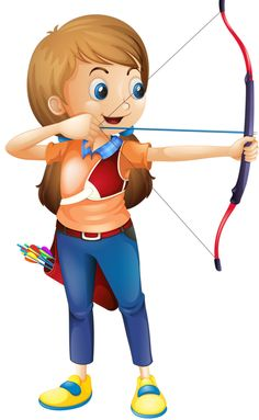 Buy Young Lady Playing Archery by interactimages on GraphicRiver. Illustration of a young lady playing archery on a white background Cartoon Boy, Cute Cartoon, Drawing For Kids, Art For Kids, Sports Clips, Boy Illustration, Cute Clipart, Fantasy Images, Daddys Little