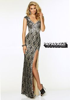 Prom Dresses – Paparazzi lace Prom Dress with high slit and keyhole back