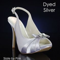 Great for the bride or bridesmaids! I would want these in this color! I would also want these for my bridesmaids, but have the bow accent dyed purple to match their dresses! I love how the heel isn't too high or too low!