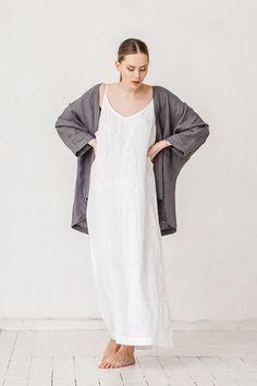 Milky white linen summer dress Minimal linen dress by Linenfox