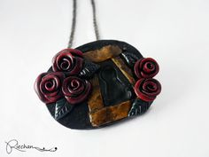 Red rose lock necklace red black rose necklace polymer by Riechan9