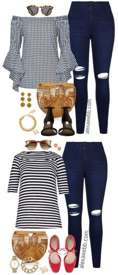 Plus Size Black, White, and Bamboo Outfit - Plus Size Casual Outfit - Plus Size Fashion for Women - alexawebb.com