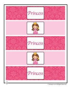 Cute Princess Party Printable Table Decorations Water Bottle Wrappers for a Princess Party – Fantasy Jr.