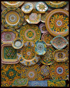 Traditional ceramics for sale outside a shop in Erice in Sicily
