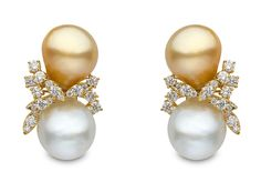 Yoko London 18kt yellow gold earrings with natural colour 12-14mm South Sea baroque pearls and 1.65cts diamonds.