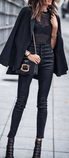 All black street chic.