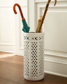 Porcelain Umbrella Stand, looks like milk glass, traditional coat stands and umbrella stands by Horchow Umbrella Holder, Umbrella Stands, White Umbrella, Shabby, Coat Stands, Parasol, April Showers, My Living Room, Mudroom