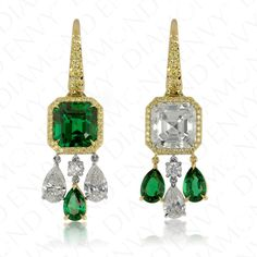 14.89 Carat Natural Emerald and Diamond Earrings in 18K Yellow Gold and Platinum