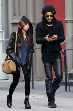 Father and daughter - Zoe and Lenny Kravitz.