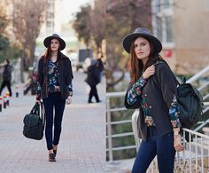 Sixkisses Blouse, Chic Wish Backpack, Hotic Brogues, H&M Hat, Y London Coat