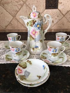 RARE Antique Pink and Blue Floral Chocolate Pot Set with Pot 4 cups - Appears to be hand painted - 1920 - Early 20th Century Porcelain
