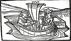 Tristan and Isolde - German woodcut c1400