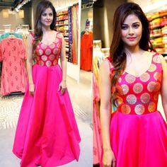 pink tapeta and jquard silk partywear gown - Fabric : Tapeta silk & jaikard silk gown with 4 meter flair( semi stich )fabric given for short sleeves Kalamkari Dresses, Brocade Dresses, Indian Gowns Dresses, Pink Gowns, Pink Silk Dress, Saree Gown, Anarkali Dress, Frocks And Gowns, Indian Party Wear