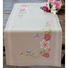 Discover thousands of images about Pink Flowers and Butterflies - table runner - printed cross stitch kit - Vervaco Christmas Embroidery Patterns, Embroidery Patterns Free, Hand Embroidery Designs, Hardanger Embroidery, Cross Stitch Embroidery, Cross Stitch Designs, Cross Stitch Patterns, Bargello Needlepoint, Swedish Weaving