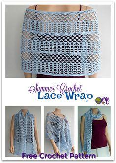 Free crochet pattern for the Summer Crochet Lace Wrap on CrochetN'Crafts. It's a beautiful crochet wrap for the summer, or as a scarf in the winter. #wrap #lace #crochet #freecrochetpattern #crochetncrafts