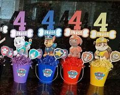 Paw Patrol - 9 Set of Double Sided Centerpieces Paw Patrol Birthday Decorations, Paw Patrol Birthday Theme, Paw Patrol Centerpieces, 4th Birthday Parties, 3rd Birthday, Cumple Paw Patrol, Paw Patrol Cake, Party Ideas, Baby