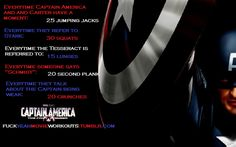 Captain America workout!  Want to see more workouts like this one? Follow us here.