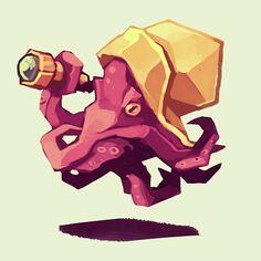 Cute Octopus, Octopus Art, Octopus Drawing, Octopus Sketch, Art Sketches, Art Drawings, Octopus Illustration, Cool Monsters, Grey Art