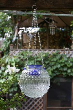 Repurposed Light Globe Hanging Candle Lantern by NewViewsbyDani
