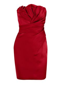 Karen Millen Folded stretch strapless dress red Product details : * Signature stretch satin strapless dress with folded bodice. * Material : 22% Polyamide,3% Elastane,75% Acetate * Color : Show as pictures