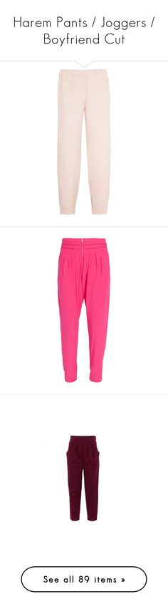 """Harem Pants / Joggers / Boyfriend Cut"" by youmaycallmejuju ❤ liked on Polyvore featuring pants, bottoms, fendi, bottoms pants, pink, elasticated waist trousers, pink pants, satin pants, pink trousers and elastic waist pants"
