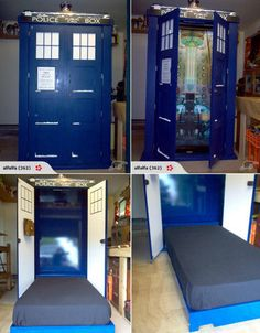 Doctor Who Tardis bed....saves space...looks cool...but it looks like a twin bed. He'd never agree to a twin bed from his queen. Of course, it IS a Tardis bed.