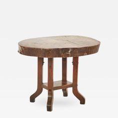 A Raw Wood Side Table on Four Legged Base